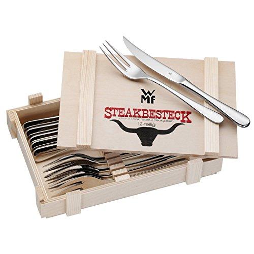 WMF Steakbesteck, 12-teilig, Steakgabel Steakmesser für 6 Personen, Cromargan Edelstahl poliert, in Holzkiste