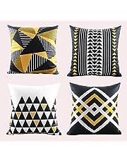 Kridhay Natura Life Velvet Decorative Throw Pillow/Cushion Covers (Multicolour, 16 x 16 inch) - Set of 4
