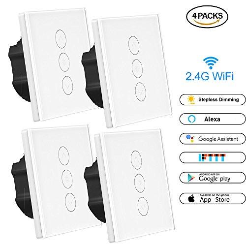 Interruptor de atenuación inteligente, Konesky Wifi Interruptor de luz LED Trabajar con Alexa/Google Home/IFTTT, 1 Gang App Control remoto y soporte Timmer (se requiere un cable neutro) (4 Dimmer)