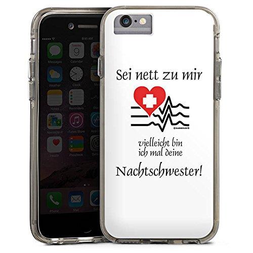 Apple iPhone 7 Bumper Hülle Bumper Case Glitzer Hülle Nachtschwester Nurse Krankenschwester Bumper Case transparent grau