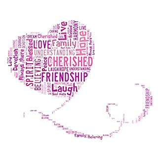 A4 Personalised Word Art Trailing Heart design - choice of colours - by Action Retail