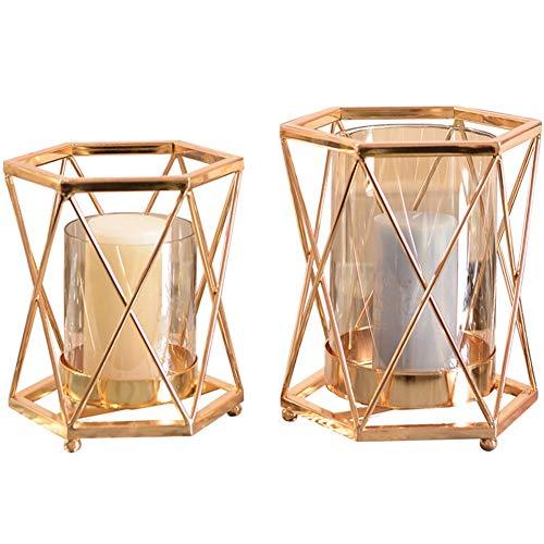 Chandeliers Bougeoir Bougeoir romantique doré, chandelier géométrique/lumière de thé, dîners aux chandelles pour mariage à la maison, chandelier