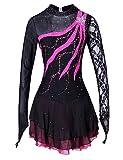 LINGXU Eiskunstlauf Kleid für Mädchen, Handgemachte Rollschuhkleid Wettbewerb Kostüm für Frauen langärmelige Lace Straps Schwarz Fuchsia,M