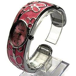 QBD Damen Geschnitzt Farbe Armband Damen Armbanduhr Mode Uhr Beauty Kleid Uhr Einzigartiges Design-Pink