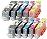 10Cartouches d'encre CC série remplacer Canon pgi570x l cli571x l avec puce et indicateur de niveau pour Canon Pixma MG 5750, MG 5751, 5752, MG 5753, MG 6850, MG 6851, MG 6852, MG 6853, MG 7750,, MG 77517752, MG 7753compatible avec les pgi570bk, cli571bk, cli571C, cli571m, cli571y
