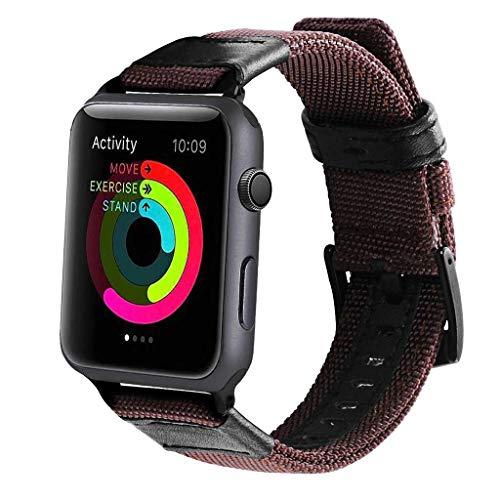 Luxurioese Uhrenarmband Aus Canvas Und Leder Handschlaufe für Apple Watch Serie 4 44mm (Uhrenarmband Canvas Leder)