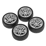 Lamdoo 4 Stück 48 mm Simulations-Rad Reifen Reifen Spielzeug Modell DIY RC Ersatzteile