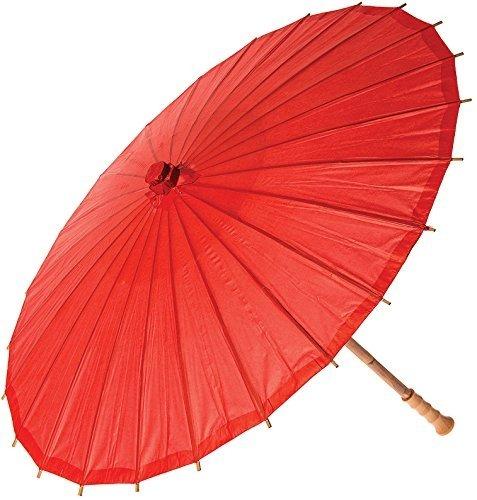NO:1 Bambus chinesische japanische Stoffe Regenschirm Sonnenschirm Rot