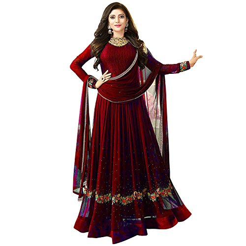 Clothfab Women\'s Georgette Anarkali Dress Material (Nit-Dress-76 Red_Free Size)