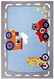 Sigikid Kinderteppich Happy Street Traffic   blau   70 x 140 cm