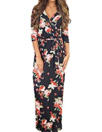 Très Chic Mailanda Vestito Donna Manica Media Maxi Gonna Floreale Elegante  Scoll a V Spiaggia Dress 801679d7ce9