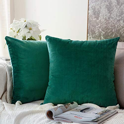 MIULEE Packung von 2, Purer Weicher Dekorativ Sofa Kissenbezug Kissenhülle Set Kissen Fall für Sofa Schlafzimmer Auto Malachitgrün 18 x 18 inch 45 x 45 cm