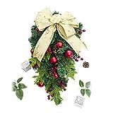 Bescita Weihnachtsgirlande Rattan Weihnachtsbaum Cane Hängende Verzierung Dekoration Christmas Party, DIY Weihnachten Künstliche Girlande Tannengrün (C)