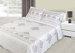 220x240 cm creme Tagesdecke Bettüberwurf mit Steppungen und 2 Kissenbezügen 50x70 Satin Neuheit Schnäppchen Alice