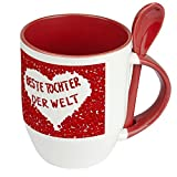 Namenstasse Beste Tochter der Welt - Löffel-Tasse mit Namens-Motiv Blumenherz - Becher, Kaffeetasse, Kaffeebecher, Mug - Rot