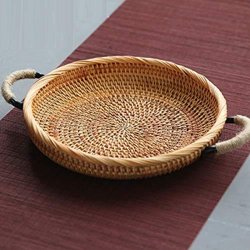 WAYMX Rund/oval Handgefertigte Rattan-Speicher Korb Obst Gemüse Lebensmittel Weidenkörbe Picknick-Tablett Halter Haus Dekoration B