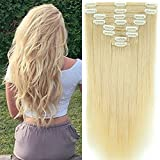 Clip in Extensions Set 100% Remy Echthaar 8 Teilig 130g-160g Haarverlängerung dick Dopplet Tressen Clip-In Hair Extension ( 35cm-120g, #60 Platinum Blonde)