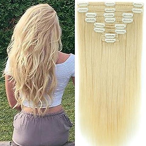 Clip in Extensions Set 100% Remy Echthaar 8 Teilig 130g-160g Haarverlängerung dick Dopplet Tressen Clip-In Hair Extension ( 35cm-120g, #60 Platinum Blonde)