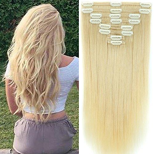40cm-55cm Clip in Extensions Set 100% Remy Echthaar 8 Teilig 130g-160g Haarverlängerung dick Dopplet Tressen Clip-In Hair Extension ( 40cm-130g, Nr.60 Weißblond) (Clip-in-haar-erweiterungen 18)