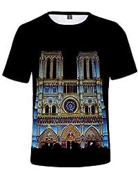 170aad735 Unisex Casual Impresión 3D Paisaje Histórico Notre Dame de Paris Camiseta  de Manga Corta Gráfica Top Tees Ropa…