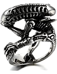 K Mega Jewelry Stainless Steel Men's Ring , Color Black Silver, Biker, Skull, Classic, Alien, With Gift Bag