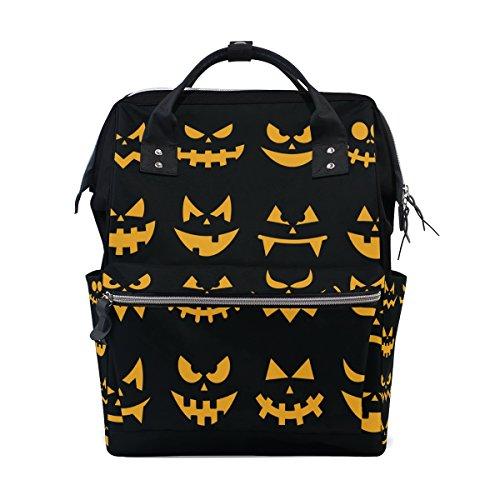 COOSUN Scary Halloween orange Kürbis-Gesichter Nappy Wickeltasche Windel Rucksack mit Insulated Taschen Stroller Straps, großen Kapazitäts-Multi-Funktions-stilvoller Windel-Tasche für Mama Dad Außen