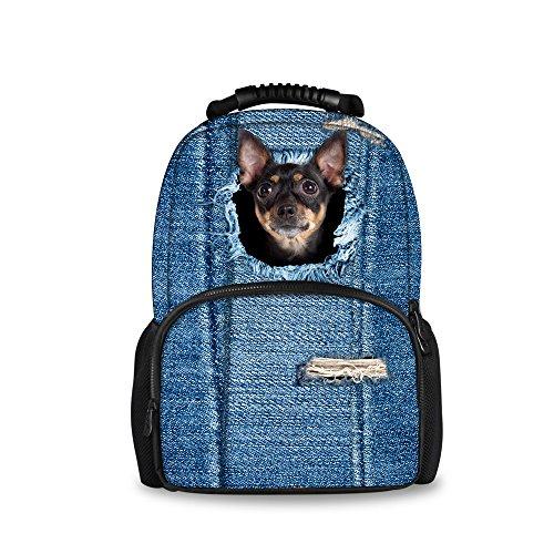 Imagen de injersdesigns casual  mujer hombre viaje  laptop school bags para adolescentes denim perro gato alumnos bookbags para niñas niños c3306a