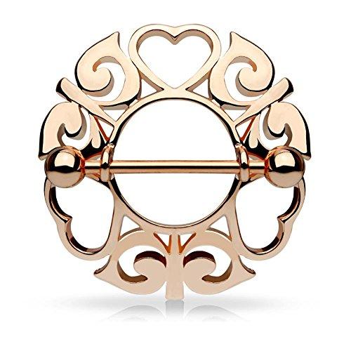 Paula & Fritz® Brustwarzenpiercing aus Edelstahl Chirurgenstahl 316L Rosévergoldet Motiv: Wachsende Herzen