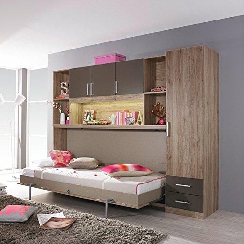 Funktionsbett Susi + Schrankwand 90 * 200 cm Eiche Sanremo grau Kleiderschrank Kinderbett Jugendbett Jugendliege Bettliege Wand Klappbett Bett - 2