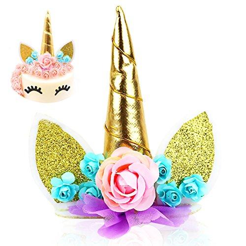 Cake Topper, JER Unicorn Cake Topper Cumpleaños Pastel Decoración,Unicornio Cuerno y Orejas Tartas Decoraciones para boda y cumpleaños (oro)