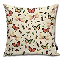 ghjkuyt412 Insecta Pattern Square Decorative Throw Pillow Case Cushion Cover 18 x 18 inch