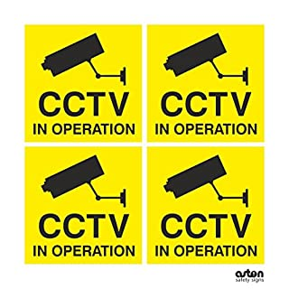 Pack of 4 CCTV In Operation Signs 100mm x 100mm (Self Adhesive Sticker)