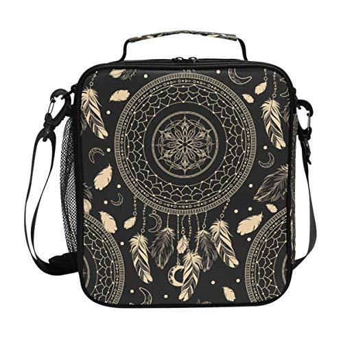 CPYang - Bolsa térmica para el almuerzo con correa para el hombro, diseño tribal atrapasueños
