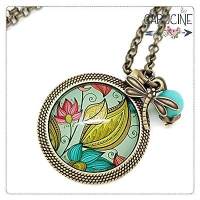 Sautoir Illustré Fleurs et Libellule Turquoise, Jaune et Rose en Métal Bronze avec Cabochon en Verre, Breloque et Perle en Jade
