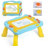 Lavagna Magnetica Colorato Magna Doodle Tavolo da Disegno Magnetico Scrivania per bambini con 2 Timbri Forma, Tema di Alto Mare