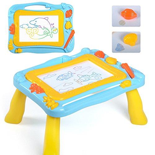 Ardoise Magique Tableau Sketchpad 2 en 1, De Dessin Magnétique Coloré, Planche à Dessin de Barbouillage Jouet Cadeau éducatif pour Enfants (Bleu-Jaune)