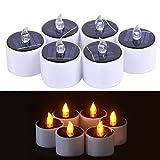 LB Trading 6 Pcs Candle Lights LED Romantische Outdoor Solar Elektronische flammenlose Kerze mit Warmen Weißen Glühbirne Licht für Hochzeiten, Geburtstag, Festivals, Party, Dekoration