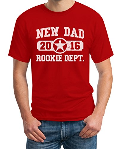 New Dad 2016 T-Shirt - Neuer Papa, Vater / Baby Umstandsmode Rot