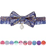 Blueberry Pet Gold Print Lucky Clouds Breakaway Lace Choker Cat Collar in Blue