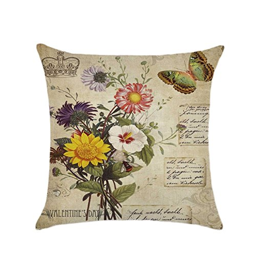Cosanter Kissenbezug Kissenhülle Kopfkissenbezug Pillowcase 45 x 45 Rose Blumen Gras Leinen Muster Office Auto Dekor, Stil D - Alle Office-dekor