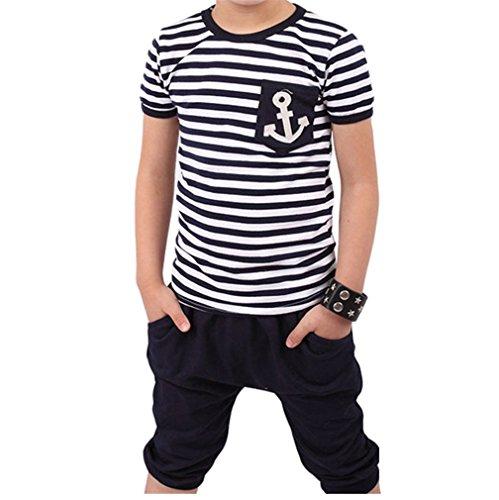 JYJM Populäres Sommer Jungen Marine gestreiftes T-Shirt und Hosen Klagen (Size4-5 jahre, (Paket Kostüm Gesamt)