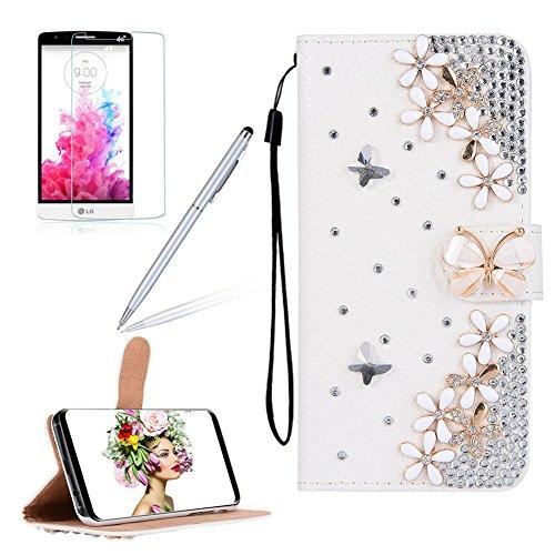 Girlyard für LG G6 Diamant Schmetterling Blumen Lederhülle, Bling Glitzer DIY Crystal Schutzhülle Luxus Premium PU Flip Case mit Lanyard Strap Standfunktion Kartenfach Magnetverschluss Etui für LG G6