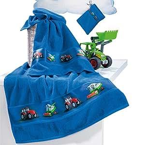 Kinderbutt Frottier-Set 3-tlg. inkl. Bestickung - mit Namen - Handtuch - Duschtuch - Waschlappen - blau - Größe 70x110 cm + 50x70 cm + 15x21 cm - 100% Baumwolle - personalisiert