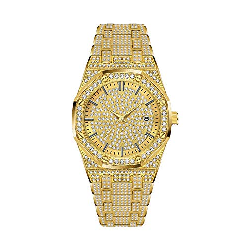 Männer passen Bling Bling Kristall Quarz-Diamant Rhinestone-Uhr-Charme-Armband-Kleid-Armbanduhr auf