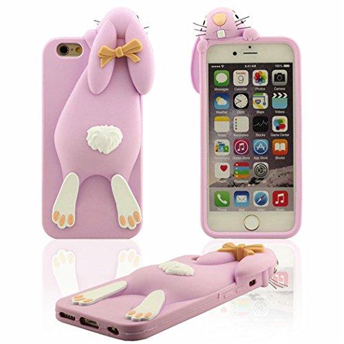iPhone 7 Custodia Cover Moda Bellissimo 3D Coniglietto Arrampicata Silicone Gel Copertura Protecttiva Morbida Protettore per iPhone 7 4.7, Rosa Rosso Viola