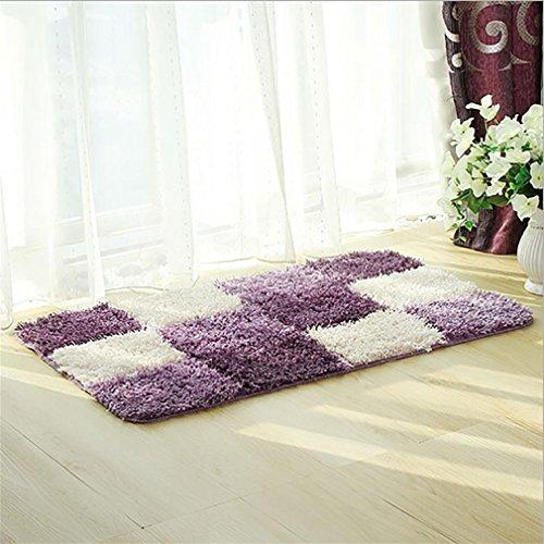 Non-slip carpet LL-Rutschfest, wasserfest   Moderne Schnell trocknende Mikrofaser Duschmatte   Griffkomfort und Sicherheit für Ihr Badezimmer - Flauschig & Weich   45x 75cm, Purple - Purple Shag Teppich