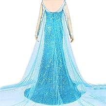 iPretty Vestido azul Disfraz de Princesa para Fiesta Carnaval Cosplay para mujer