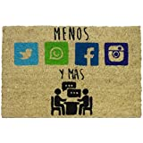koko doormats felpudos Entrada casa Originales, Fibra de Coco y PVC, Felpudo Exterior MÁS Y Menos, 40x60x1.5 cm | Alfombra Pu