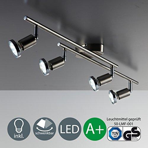 Plafonnier 4 spots LED / GU10 / 3W / 250lumen / orientable / avec anneau en chrome / Nickel mat [Classe énergétique A+]