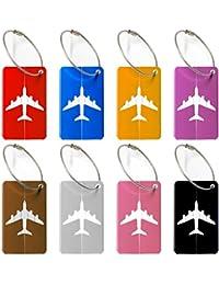 Bagages Étiquettes, wellead étiquettes valise 8 couleurs aluminium avion modèle voyage bagages bagages sac à main Tag (8 Pack)
